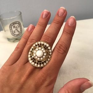 Gold and White Stretch Ring
